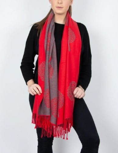 Reversible Mulberry Tree Pashmina & Scarf  - Red & Grey